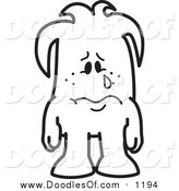 Vector Clipart of a Doodled Sad Crying Squiggle Guy by Toons4Biz