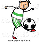 July 5th, 2014: Vector Clipart of a Doodled Sporty Boy Playing Soccer by Prawny