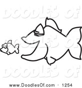 Vector Clipart of a Doodled Squiggle Big Fish Chasing a Little Fish by Toons4Biz
