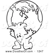 Vector Clipart of a Doodled Squiggle Guy Atlas Carrying a Globe by Toons4Biz