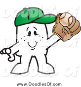 Vector Clipart of a Doodled Squiggle Guy Catching a Baseball by Toons4Biz