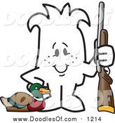 Vector Clipart of a Doodled Squiggle Guy Duck Hunting by Toons4Biz