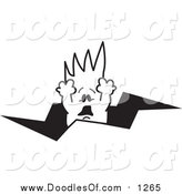 Vector Clipart of a Doodled Squiggle Guy Falling Through a Crack by Toons4Biz