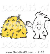 Vector Clipart of a Doodled Squiggle Guy Finding a Needle in a Hay Stack by Toons4Biz