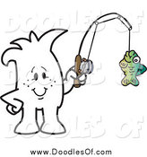 Vector Clipart of a Doodled Squiggle Guy Fishing by Toons4Biz