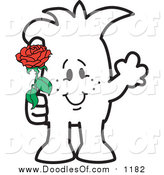 Vector Clipart of a Doodled Squiggle Guy Giving a Rose by Toons4Biz