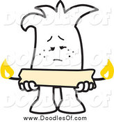 Vector Clipart of a Doodled Squiggle Guy Holding a Candle Burning at Both Ends by Toons4Biz