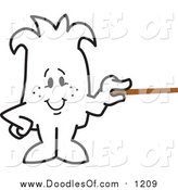 Vector Clipart of a Doodled Squiggle Guy Holding a Pointer Stick by Toons4Biz