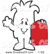 Vector Clipart of a Doodled Squiggle Guy Holding a Price Tag by Toons4Biz