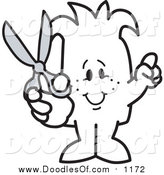 Vector Clipart of a Doodled Squiggle Guy Holding Scissors by Toons4Biz