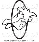 Vector Clipart of a Doodled Squiggle Guy Jumping Through Hoops by Toons4Biz