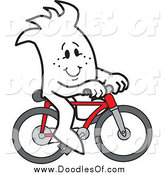 Vector Clipart of a Doodled Squiggle Guy Riding a Bike by Toons4Biz