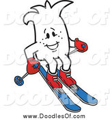 Vector Clipart of a Doodled Squiggle Guy Skiing by Toons4Biz