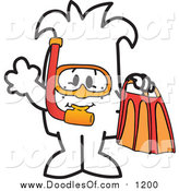Vector Clipart of a Doodled Squiggle Guy Snorkeling by Toons4Biz