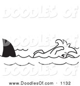 Vector Clipart of a Doodled Squiggle Guy Swimming with Sharks by Toons4Biz