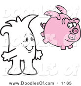 Vector Clipart of a Doodled Squiggle Guy Watching a Pig Fly by Toons4Biz