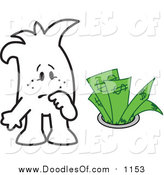 Vector Clipart of a Doodled Squiggle Guy Watching Money Going down the Drain by Toons4Biz