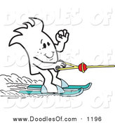 Vector Clipart of a Doodled Squiggle Guy Water Skiing by Toons4Biz