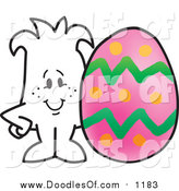 Vector Clipart of a Doodled Squiggle Guy with a Pink Easter Egg by Toons4Biz