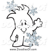 Vector Clipart of a Doodled Squiggle Guy with Snowflakes by Toons4Biz