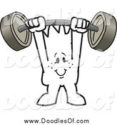 Vector Clipart of a Doodled Squiggle Man Guy Holding a Barbell Above His Head by Toons4Biz