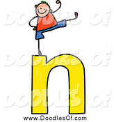Vector Clipart of a Doodled Stick Boy Cheering on a Lowercase Letter N by Prawny