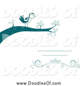 Vector Clipart of a Doodled Teal Bird on a Branch by BNP Design Studio