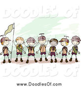 January 19th, 2015: Vector Clipart of a Doodled Team of Boy Scouts Holding a Flag by BNP Design Studio