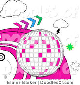 Vector Clipart of a Doodled White and Pink Disco Ball with Forward Arrows, Clouds, Bursts and Pink Waves by Elaineitalia