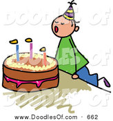Vector Clipart of a Doodled White Birthday Boy Blowing out His Cake Candles by Prawny