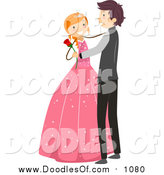 Vector Clipart of a Doodled White Birthday Girl Dancing a Waltz with a Boy by BNP Design Studio
