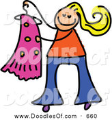 Vector Clipart of a Doodled White Blond Girl Holding a Dress on a Hanger by Prawny
