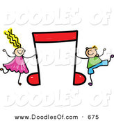 Vector Clipart of a Doodled White Boy and Girl with a Red Music Note by Prawny