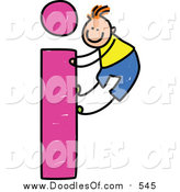 Vector Clipart of a Doodled White Boy Climbing a Lowercase Letter I by Prawny