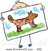 Vector Clipart of a Doodled White Boy Holding a Painting of a Dog by Prawny