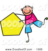 Vector Clipart of a Doodled White Boy Holding a Pentagon by Prawny