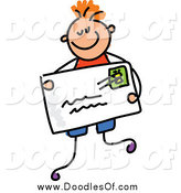 Vector Clipart of a Doodled White Boy Holding an Envelope by Prawny