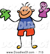 Vector Clipart of a Doodled White Boy Holding Puppets by Prawny