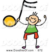 Vector Clipart of a Doodled White Boy Holding up an Orange Music Note by Prawny