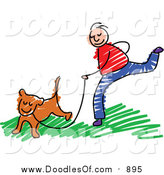 Vector Clipart of a Doodled White Boy Jogging with a Dog by Prawny