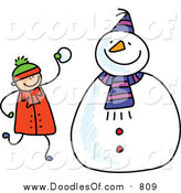Vector Clipart of a Doodled White Boy Making a Snowman by Prawny