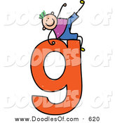 Vector Clipart of a Doodled White Boy on a Lowercase Letter G by Prawny