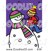 Vector Clipart of a Doodled White Boy Playing by a Snowman by Prawny