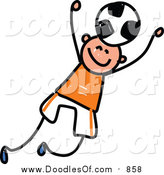 Vector Clipart of a Doodled White Boy Playing Soccer by Prawny