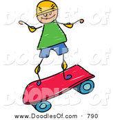 Vector Clipart of a Doodled White Boy Riding a Pink Skateboard by Prawny