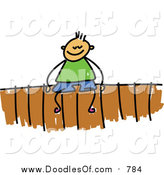 Vector Clipart of a Doodled White Boy Sitting on a Fence by Prawny