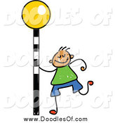 February 24th, 2015: Vector Clipart of a Doodled White Boy with a Crosswalk Sign by Prawny