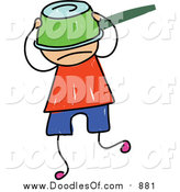 Vector Clipart of a Doodled White Boy with a Pot on His Head by Prawny