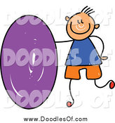 Vector Clipart of a Doodled White Boy with a Purple Oval by Prawny