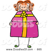 Vector Clipart of a Doodled White Girl Holding a Pink Present by Prawny